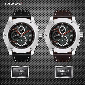 Image 4 - Relogio masculino SINOBI nowy mężczyzna chronografu zegarki na rękę kalendarz wodoodporne sportowe skórzane męska genewa wojskowy zegar kwarcowy
