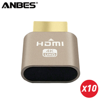 ANBES 10PCS HDMI 1 4 VGA Virtual Display Adapter HDMI DDC EDID Dummy Plug Headless Ghost