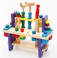 Baby Wooden Toys Educational Kids Small Wooden Project Workbench Pretend Play Tool Toys Gift
