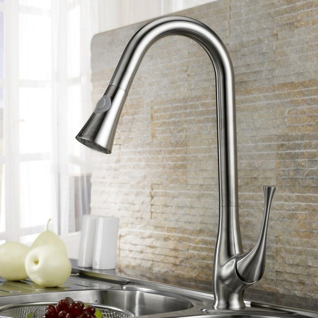 Brushed Nickel Swivel Pull Out Spray Kitchen Bar Sink Faucet Mixer Tap