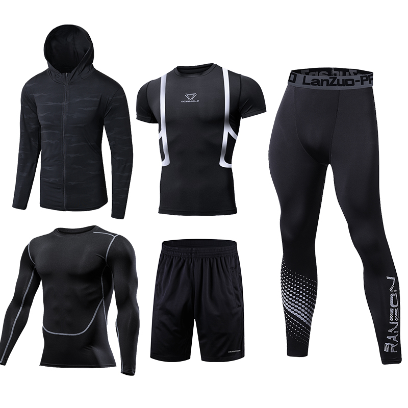Image 3 - Quick Dry Running Set Men Soccer Basketball Tights Clothes Compression 5 pcs/set Sports Suit Gym Jogging Training Set Sportswear-in Running Sets from Sports & Entertainment on AliExpress