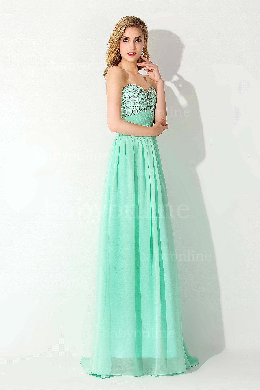 Pretty Mint Green Beaded Chiffon Long Prom Dresses 2015 Elegant ...