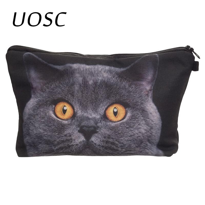 UOSC Shock Blue Cat 3D Printing Makeup Bag 2018 Who Cares Pencil Trousse De Maquillage Women Toiletry Bag Travel Pencil Bags