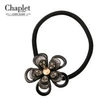 Chaplet 2016 Luxury High Quality Women Hair Accessories Flower Elastic Hair Bands Rhinestone Hair Tie Scrunchies Free Shipping