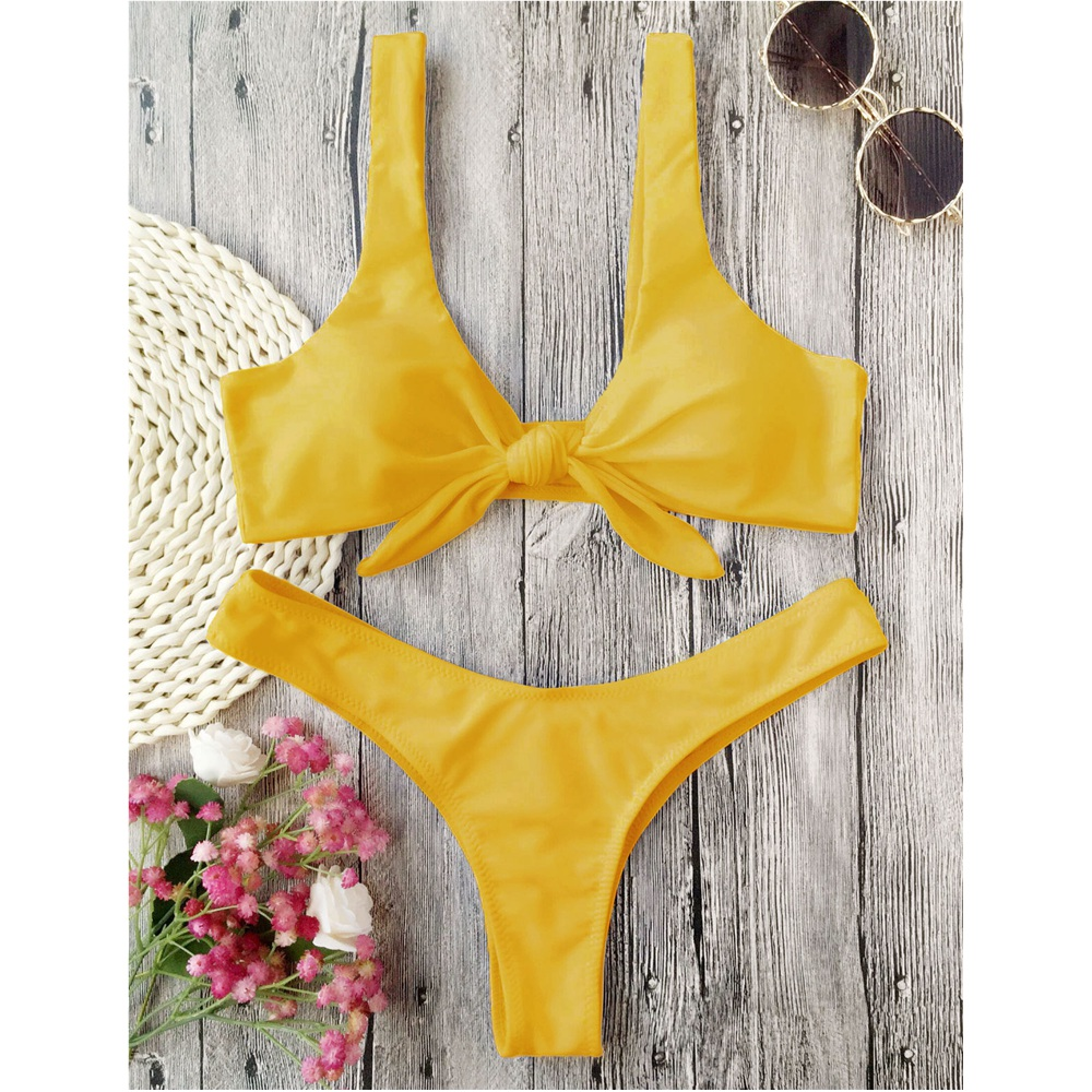 ZAFUL Bikini Knotted Padded Thong Bikini Set Women Swimwear Swimsuit Scoop Neck Solid High Cut Bathing Suit Brazilian Biquni 2