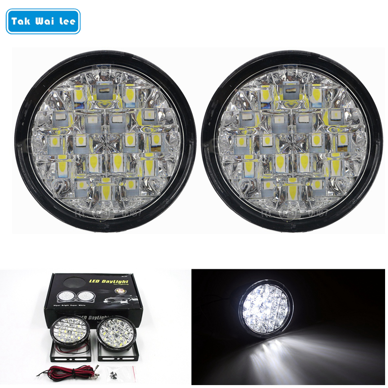 Tak Wai Lee 2X18 LEDs DC12V 9W DRL Daytime Running Light Auto Work Fog Lamp Car Light Source Styling White Color Free Shipping qvvcev 2pcs new car led fog lamps 60w 9005 hb3 auto foglight drl headlight daytime running light lamp bulb pure white dc12v
