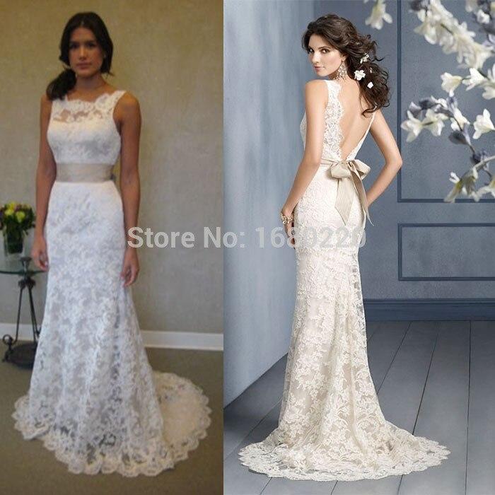 Cream Wedding Gown: Sheath Wedding Dress Scoop Sweep Brush Train Ribbon Bow