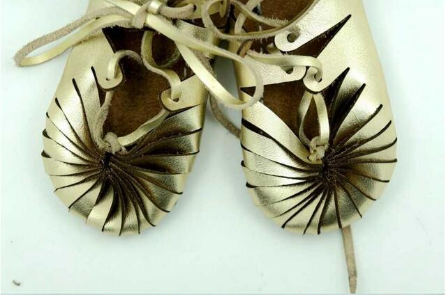 2016 Genuine Leather Baby Moccasins Gold Cuir Shoes Girl Roman Shoes Summer Baby Girls Kids Ankle Strap Flat Or Girls Boys Gifts