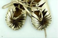 2016 Genuine Leather Baby Moccasins Gold Cuir Shoes Girl Roman Shoes Summer Baby Girls Kids Ankle