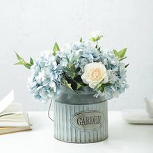 Vintage Rural Style Iron Handle Flower Garden Shabby Vase Pot Succulent Plants Bucket Planter Decor Flower Pot
