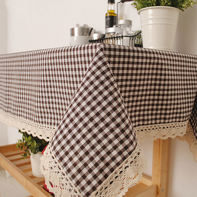 Linen Table Cloth Country Style Plaid Printing Multifunctional Rectangle  Table Cover Tablecloth With Lace Edge Home