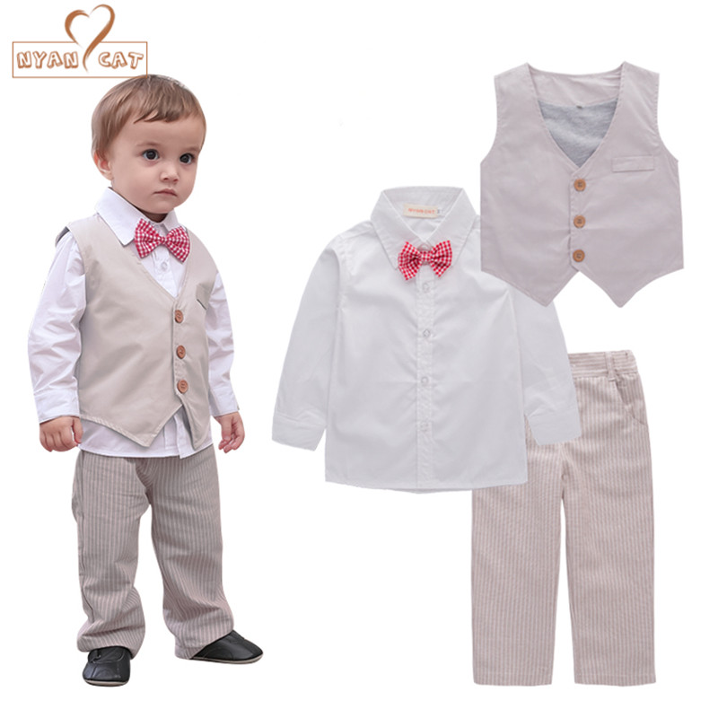 Nyan Cat Baby boys clothes gentlemen bow tie white shirt+kakhi vest+pants set wedding party birthday infant costume clothing ремни lee ремень gentlemen