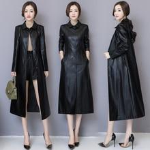 e4b02ed0290c6 2018 Autumn Winter Long Leather Jacket Women Plus Size Black Slim Soft  Leather Trench Coat Leather