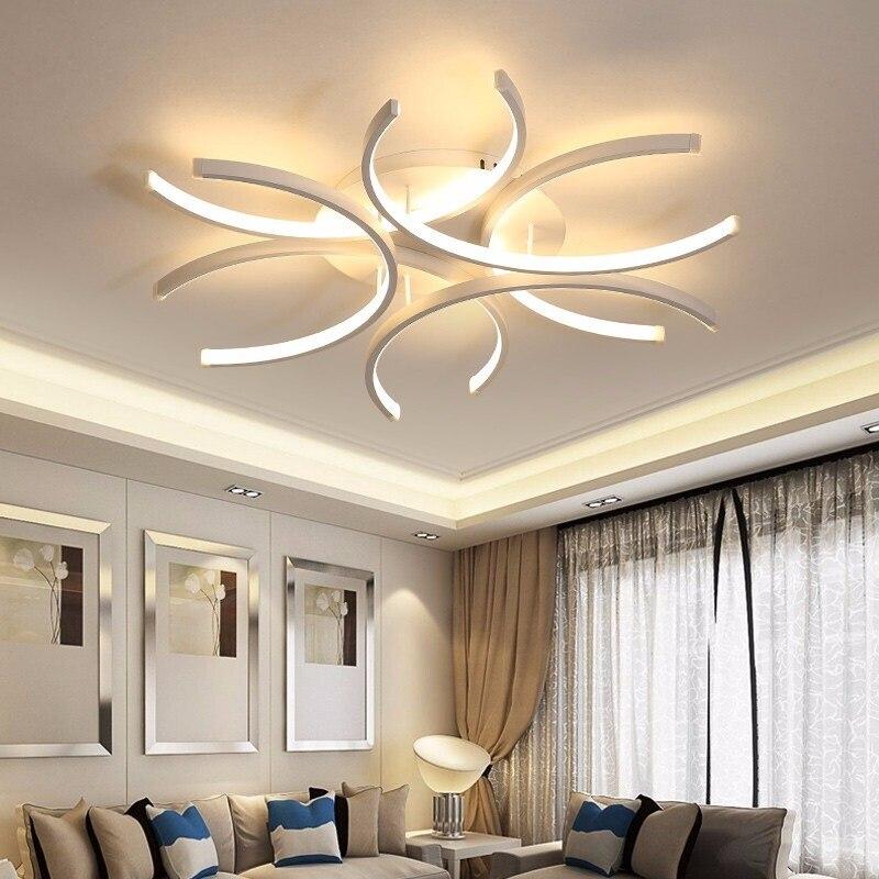Image 3 - LICAN Aluminum Wave Avize Lustre for Home decor 110V 220V White Chandeliers LED Modern Ceiling Chandelier Lighting-in Chandeliers from Lights & Lighting