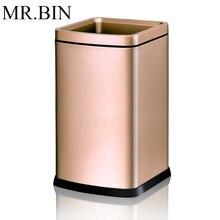 MR. BIN, двухслойная мусорная корзина из нержавеющей стали, современная, простая, без крышки, с открытым верхом, мусорная корзина для уборки дома