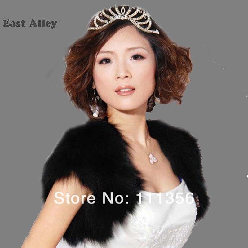 White Ivory Black Wedding Shawl Bridal Faux Fur Shrug Bride Cape Wrap Black BOLERO Stole