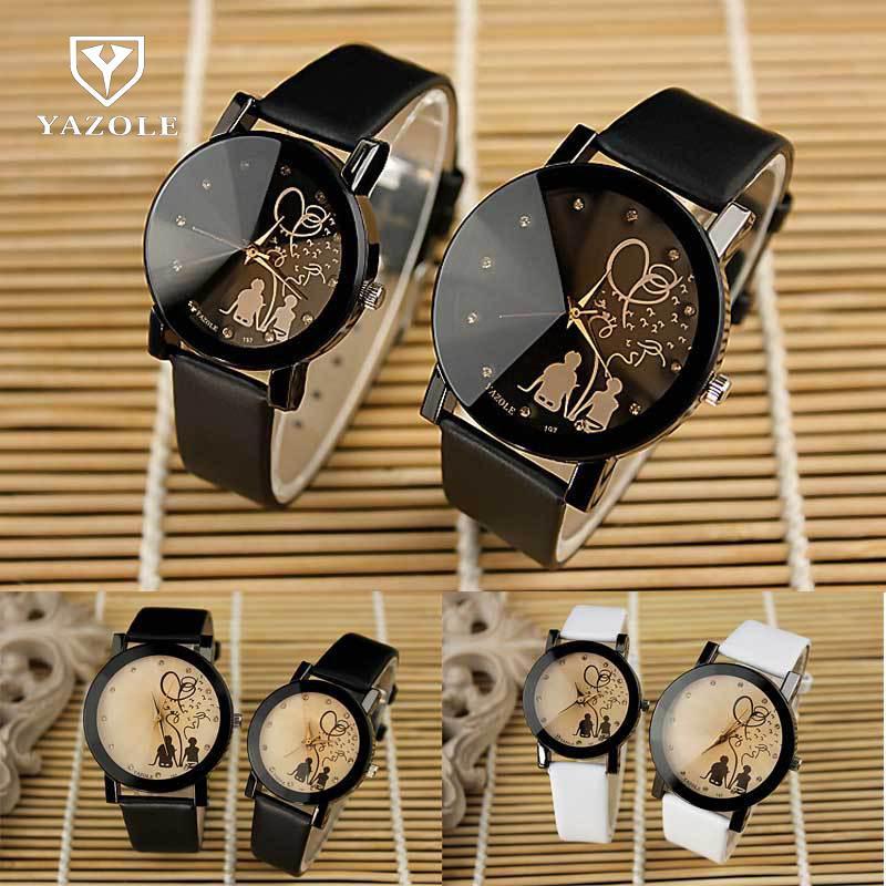 New Fashion Quartz Crystal Diamond PU Leather Watch Wrist Watch Bracelet For Men Women Students Black White High Quality