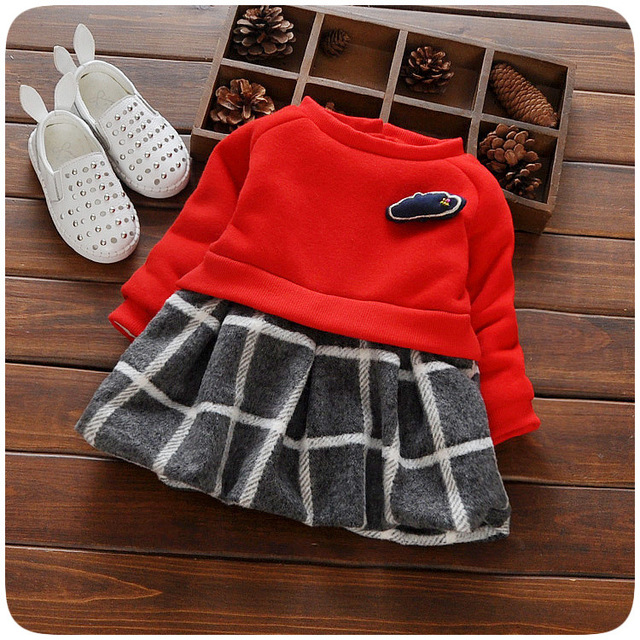 Infant baby plaid winter dresses girls cloud appliques princess newborn dress for 1 years vestidos infantil toddler girl clothes