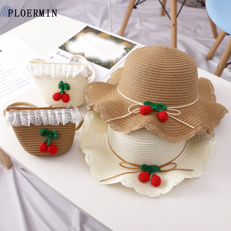 High Quality Cute Girls Straw Hats Color Ball Summer Sun Hats For Kids Child Beach Hats Sunscreen Visor (Hat + Satchel Two Sets)