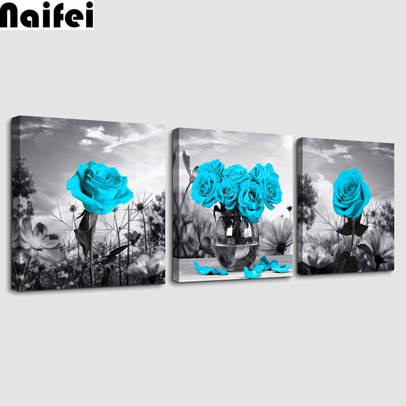 Diy full Diamond Painting kits 3 piece Black and white landscape Blue red rose flower Bathroom Wall Decor modern Home DecorationDiy full Diamond Painting kits 3 piece Black and white landscape Blue red rose flower Bathroom Wall Decor modern Home Decoration