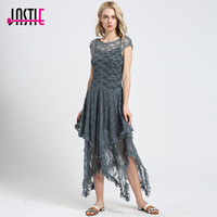 Summer Style Boho People Hippie Asymmetrical Embroidery Sheer Lace Slip Dresses Double Layered With Ruffled Trimming