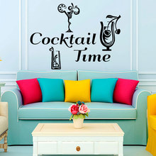 ZOOYOO Hot Sale Creative Cocktail Time Wall Decals Vinyl Removable Home Decor Wall Sticker Living Room hot sale welcome sweet home wall sticker for living room