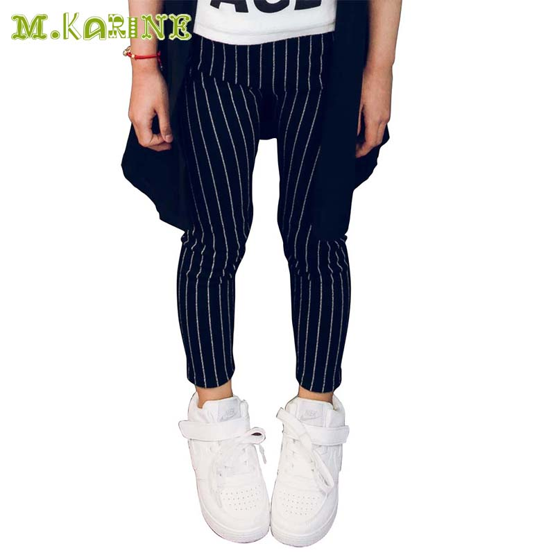 3-10Year Children's Clothing Kids Striped Pants Girls Leggings Baby Child Pantalon Skinny Solid Black Vertical Stripes Trousers side striped leggings