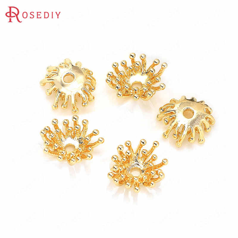 (35777)6PCS 12x10MM Hole 1MM 24K Gold Color Brass Beads Caps High Quality Diy Jewelry Findings Accessories