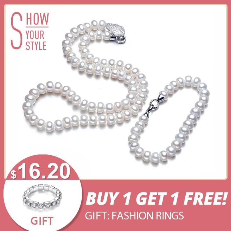YIKALAISI 925 Sterling bouton argenté perle d'eau douce naturelle Collier Bracelet Ensembles de Bijoux Pour Femmes 8-9mm Perle 4 Couleur