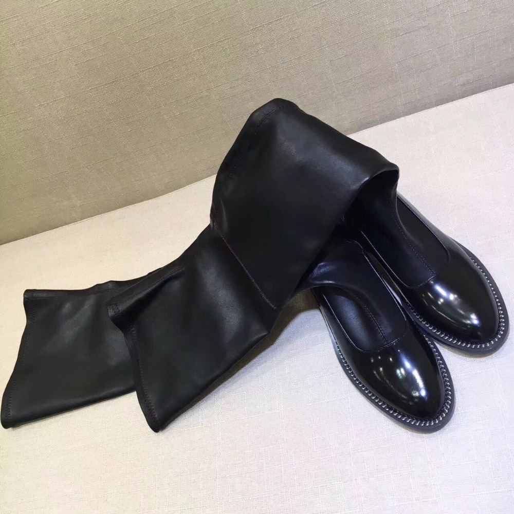 2018 Hot Autumn S Shoes Woman Leather Over the Knee Boots Metal Chain Thigh High Boots Designer Woman Casual Boots Shoes