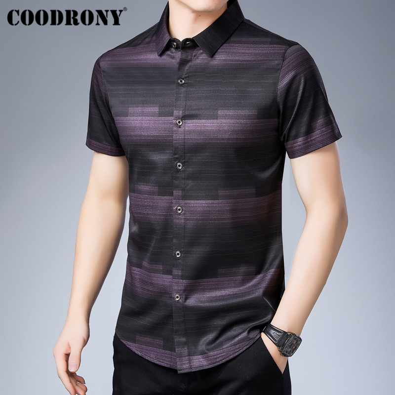 COODRONY Social Business Casual Shirts Camisa Masculina 2019 Summer Cool Short Sleeve Men Shirt Fashion Striped Shirt Men S96025