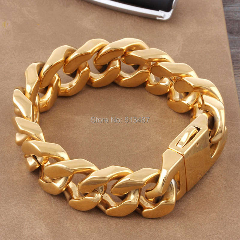Fashion Heavy Strong Men Curb Chain Gold Stainless Steel Bracelet Bangle High Quality In Link Bracelets From Jewelry Accessories On