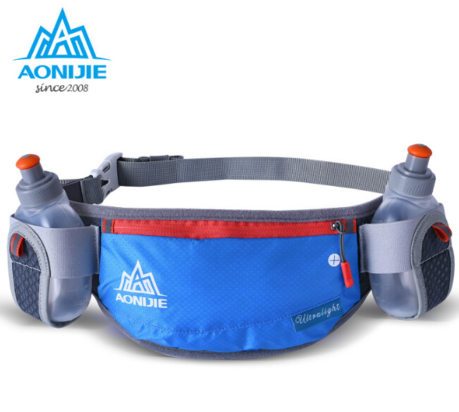 AONIJIE Running Hydration Belt Reflective Running Belt Water Fanny Pack Men Women Pakej Pinggang Dengan 2 Botol 250ML
