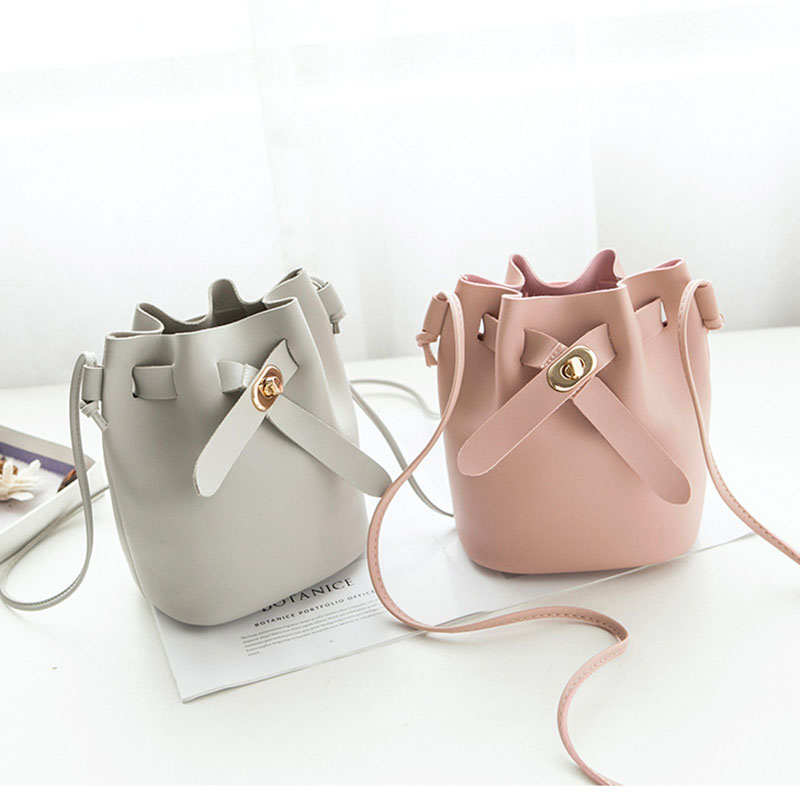 Bag Women Small Bucket PU Leather Shoulder Bag Candy Color Mini Handbags Hasp Bags Crossbody Bags Handbags