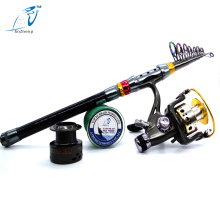 2016 New Rod Combo Carbon Telescopic Sea Fishing Rod with Fishing Line and Fishing Reel Saltwater Freshwater peche Rod Kit