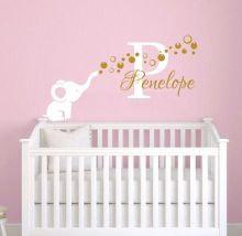 Girl Name Wall Decal Removable Vinyl Elephant With Bubbles Sticker Personalized Kids Bedroom Decor AY0120