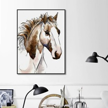 1 Panel Brown Horse Head Oil Canvas Painting Nordic Poster Minimalist Wall Art Picture for Living Room Modern Home Decorations