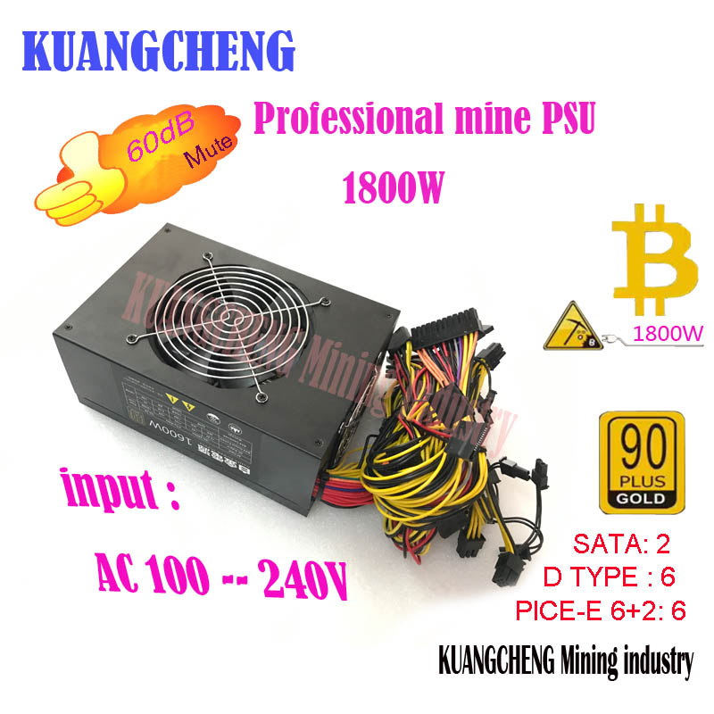 High Power Conversion Gold POWER  ETH Miners Psu (with Riser 1 ) 12V 128A Output. Including EU Cable Connectors 6 GPU CARDS