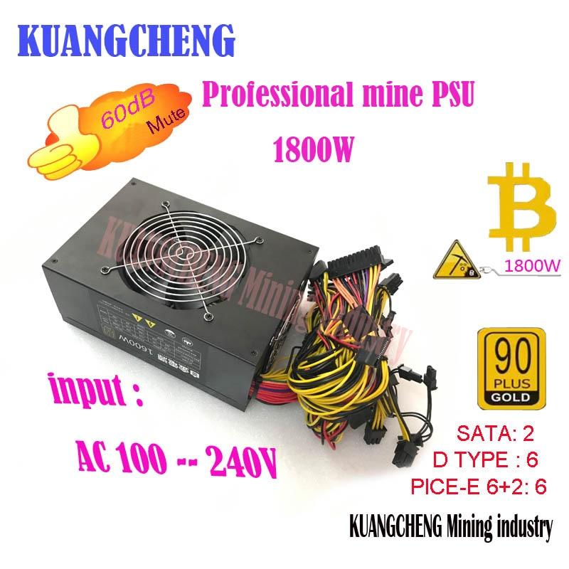 High power conversion Gold POWER ETH miners psu with riser 1 12V 128A output Including EU
