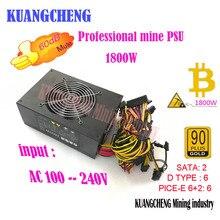 Высокая мощность Золотая переводная питания Eth шахтеров PSU (с riser 1) 12 В 128A выход. В том числе ЕС кабельные разъемы 6 GPU карты
