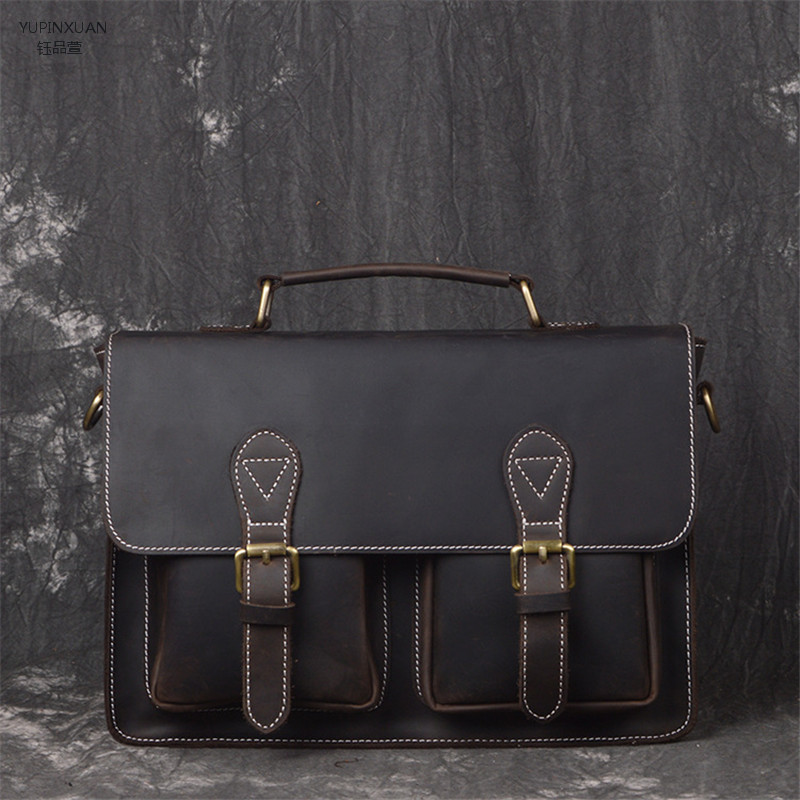 YUPINXUAN vintage handmade crazy horse briefcase men genuine font b leather b font messenger bag business