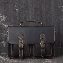 YUPINXUAN vintage handmade crazy horse briefcase men genuine leather messenger bag business office bag Lawyer Briefcase
