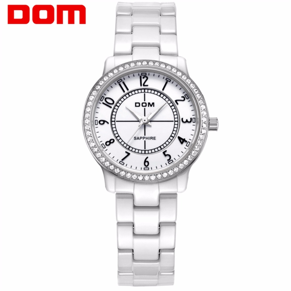 Fashion Women Diamonds Wrist Watches DOM T-558 Ceramics Watchband Top Luxury Brand Dress Ladies Geneva Quartz Clock(China)