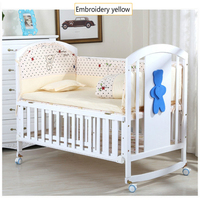 5PCS Baby Bedding Set For Crib Newborn Baby Bed Linens For Girl Boy Cartoon Embroidery Bear