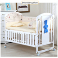 5PCS Baby Bedding Set for Crib Newborn Baby Bed Linens for Girl Boy Cartoon embroidery Bear Detachable Cot Bumpers