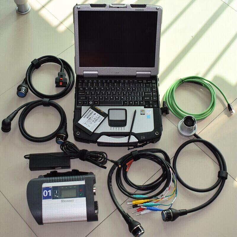 2018 Nouveau Plein Puce MB ÉTOILES C4 SD Connect Compact 4 Outil De Diagnostic Avec WIFI Logiciel 2018.12 v ssd Avec ordinateur portable cf-30 de diagnostic