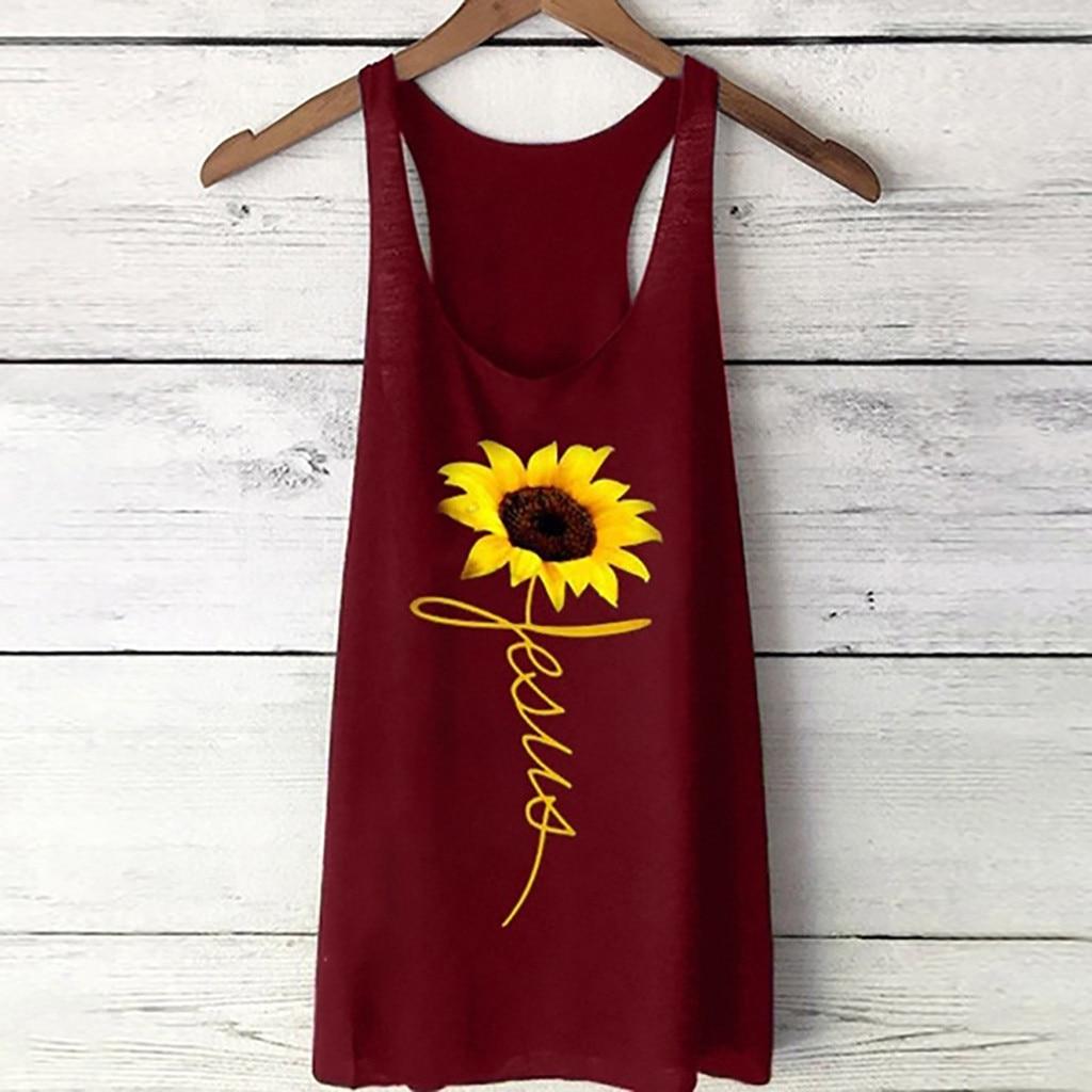 Women's Print Vest t-shirts women fashion 2019 Loose summer top elegant Sleeveless Sport Pullover Tunic Top vestidos de vera#G7
