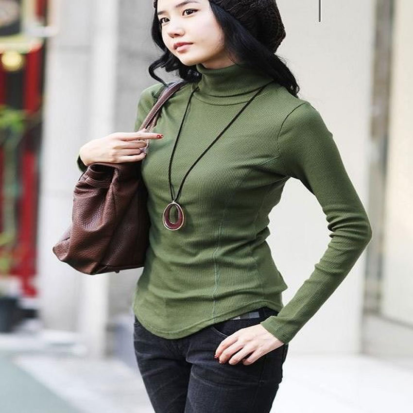 Women Autumn Winter Slim Lady Plus Size Full Sleeve Turtleneck Shirt Female Knitted Hedging Stretch Warm Pullover Sweater
