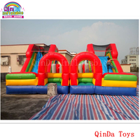 Children amusement park equipment mini castle with slide ,7*7m inflatable bouncy slide for kids play