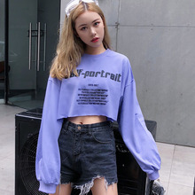 Women T-shirt long-sleeve 2019 new spring and autumn fashion female short T-shirt loose letter Korean style teenage girl c10 fashion spring and autumn color letter printing men s long sleeve t shirt